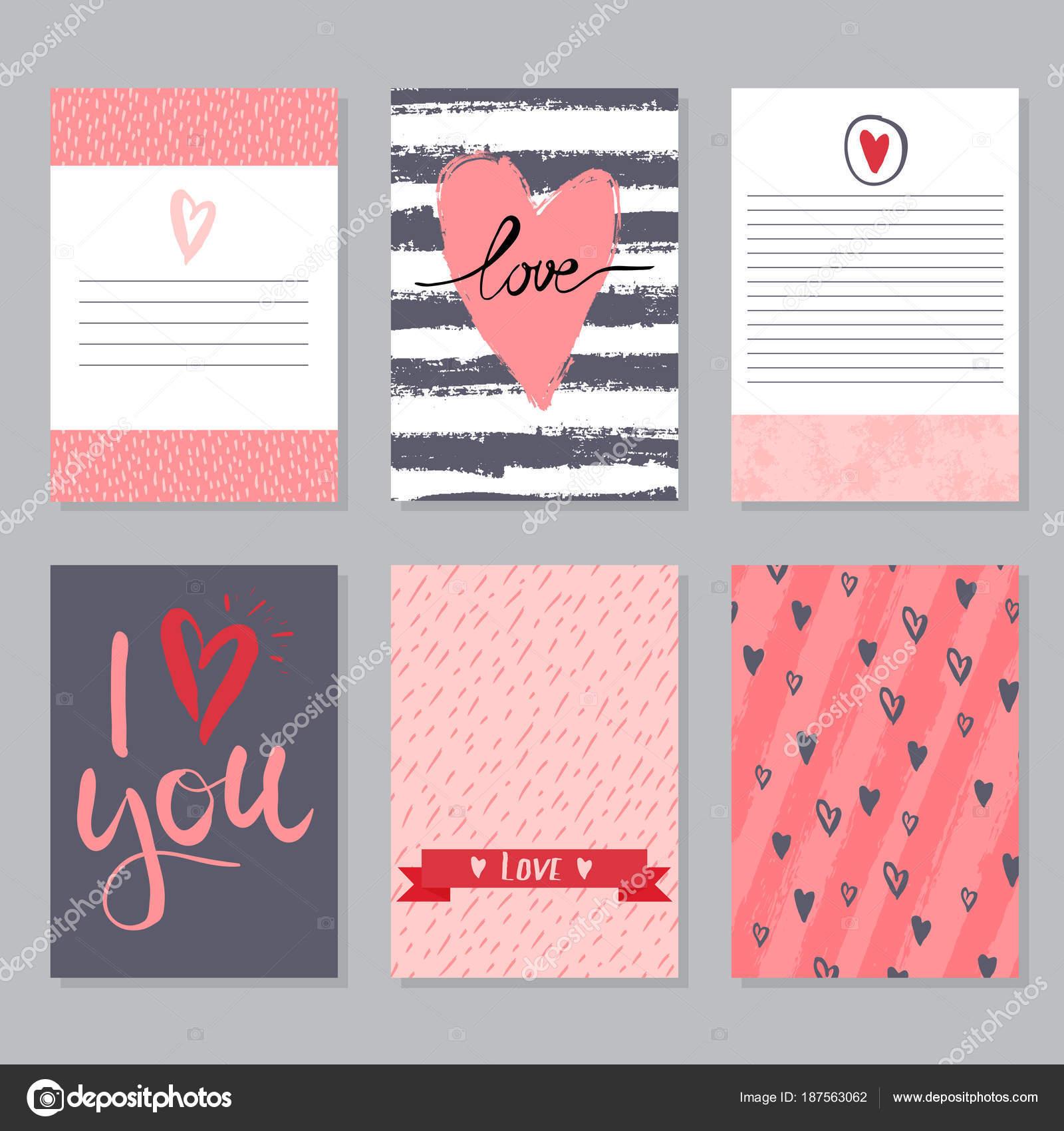Plantillas de tarjetas de amor de vector — Vector de stock ...