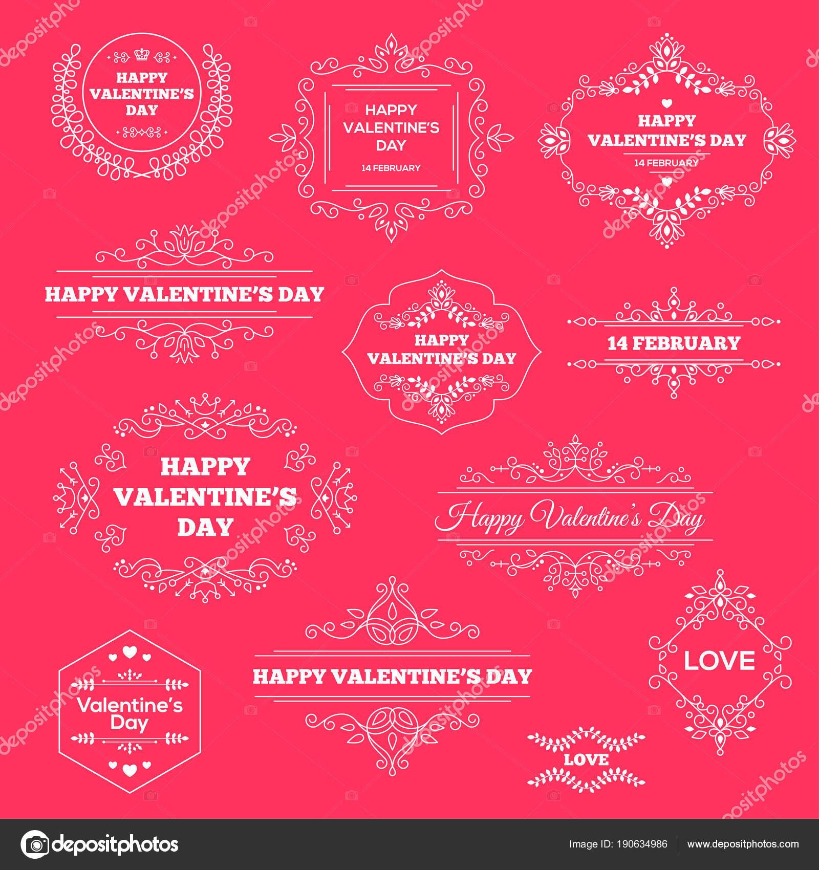 Happy valentines day vintage ornament beschriftungen festlegen vektor illustration retro luxus einladungen grüße mit schnörkel rahmen