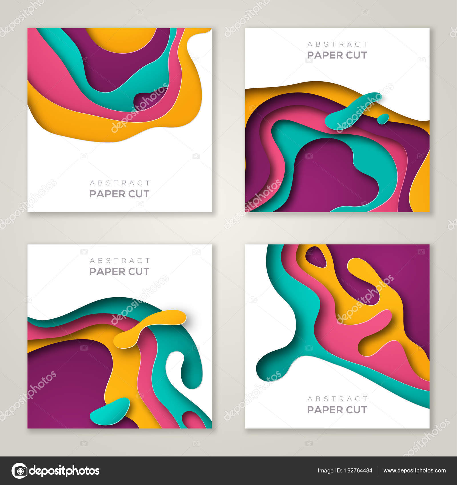 Set of square banner templates with paper cut — Stock Vector ...