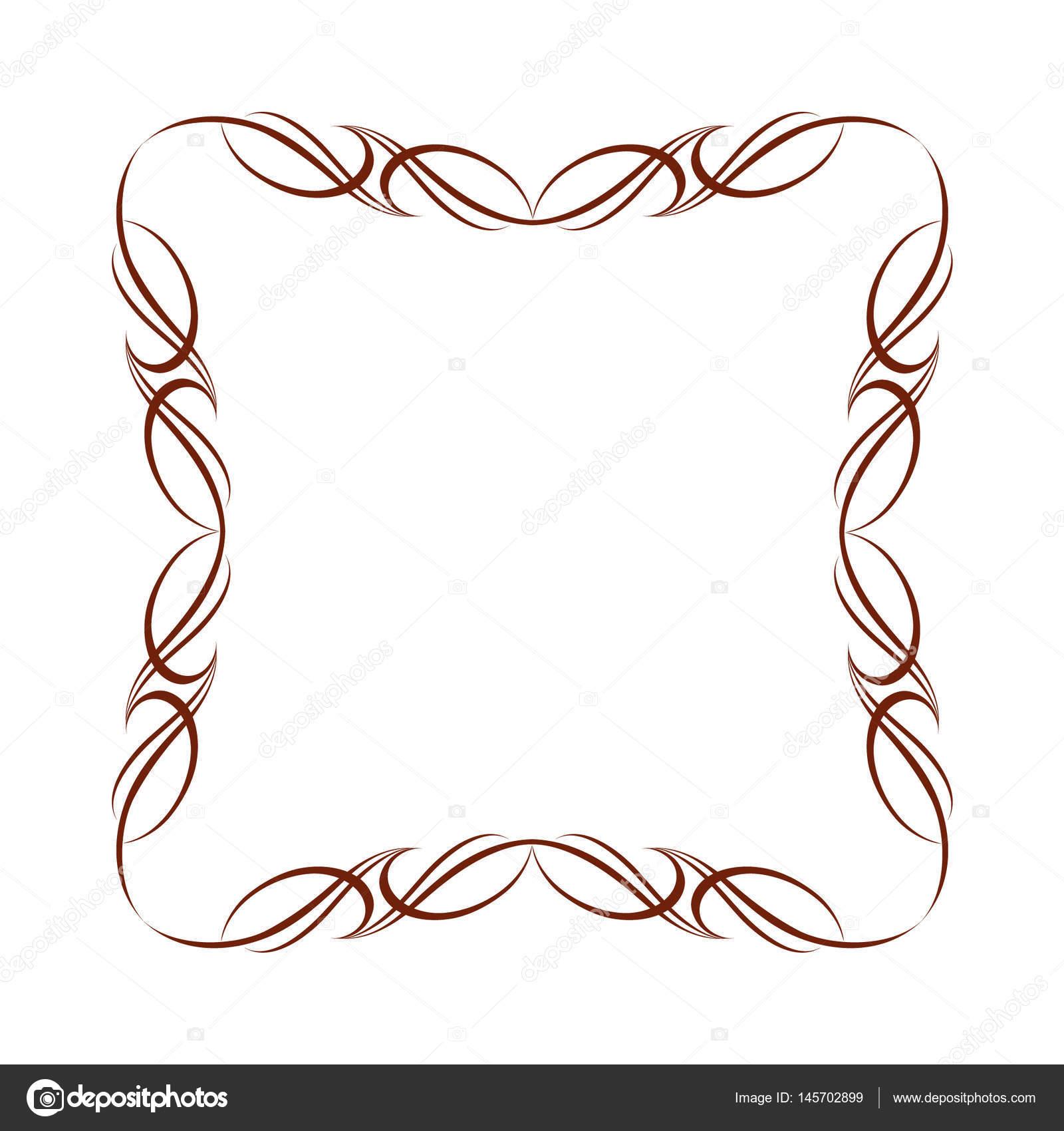 Marcos decorativos. Vector vintage. Marrón sobre blanco. Ilustración ...