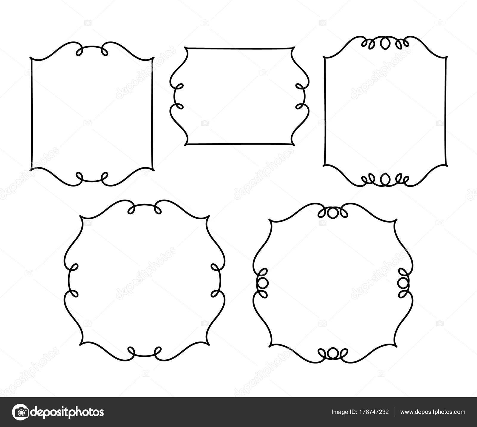 Establecer Marcos Retro Vector Ilustración Vector Negro Sobre Blanco ...