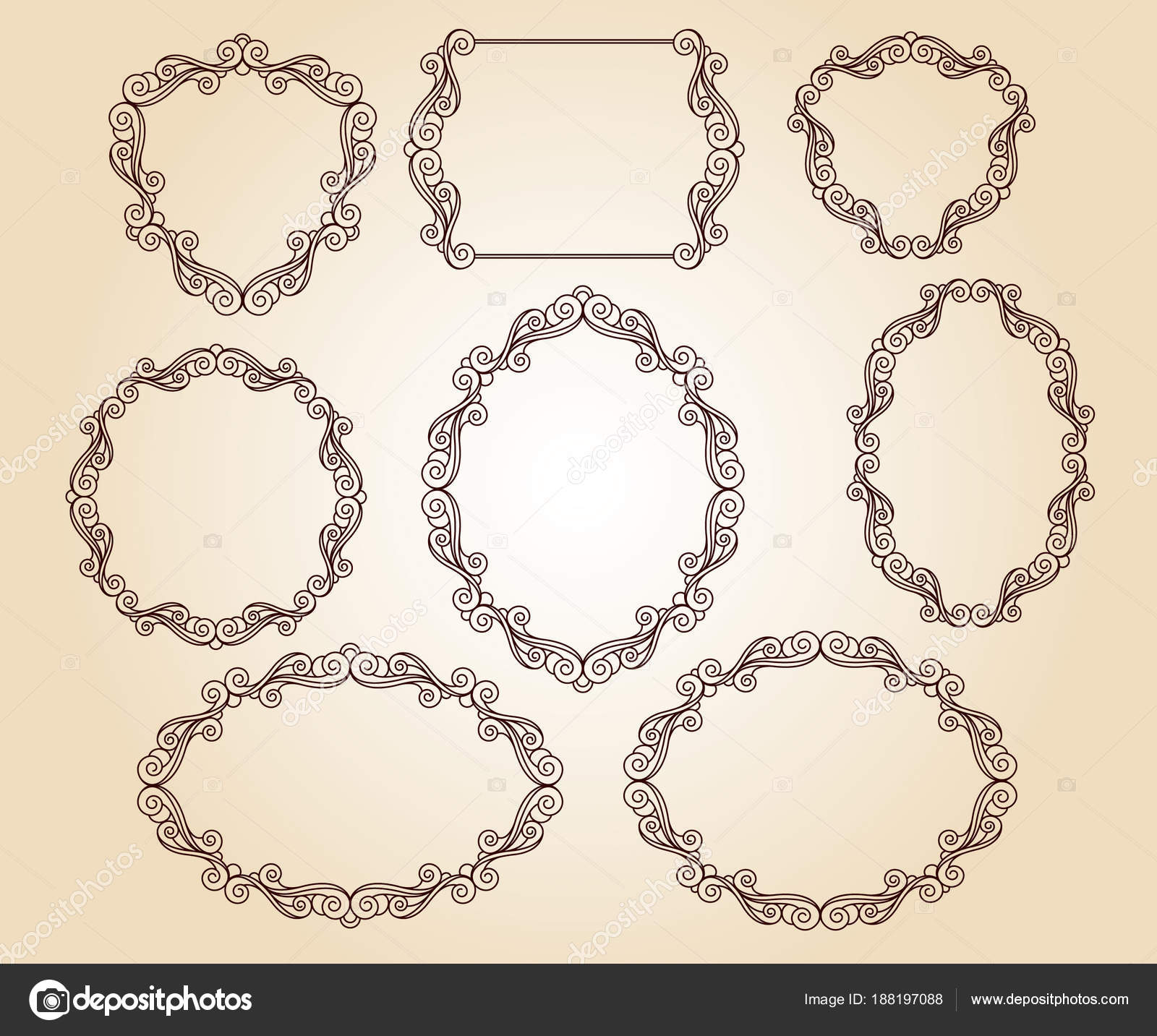 Establecer Marcos Retro Vector Ilustración Vector — Archivo Imágenes ...