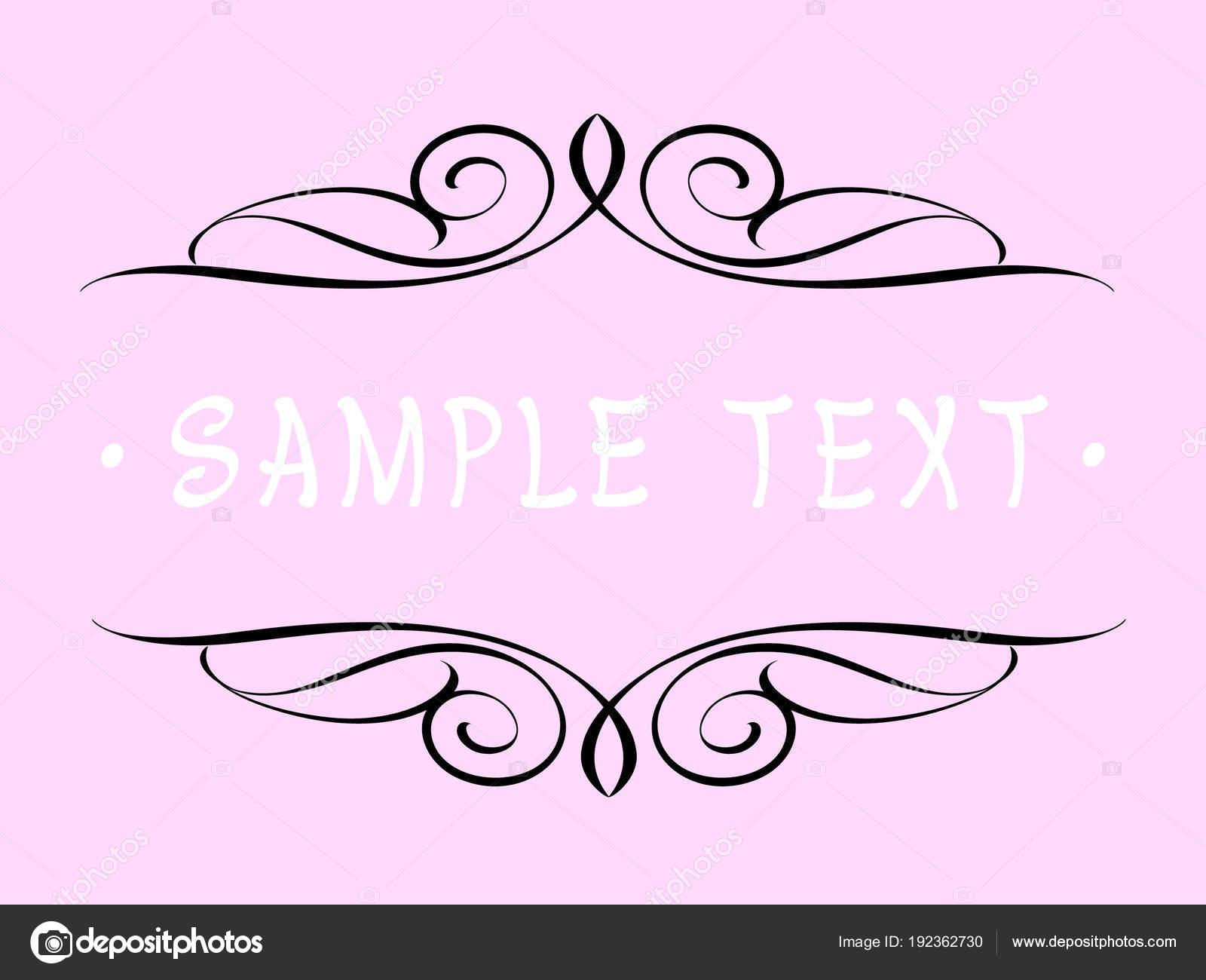 Calligraphic Vintage Frame Design Vector Illustration Black Pink Background Stock