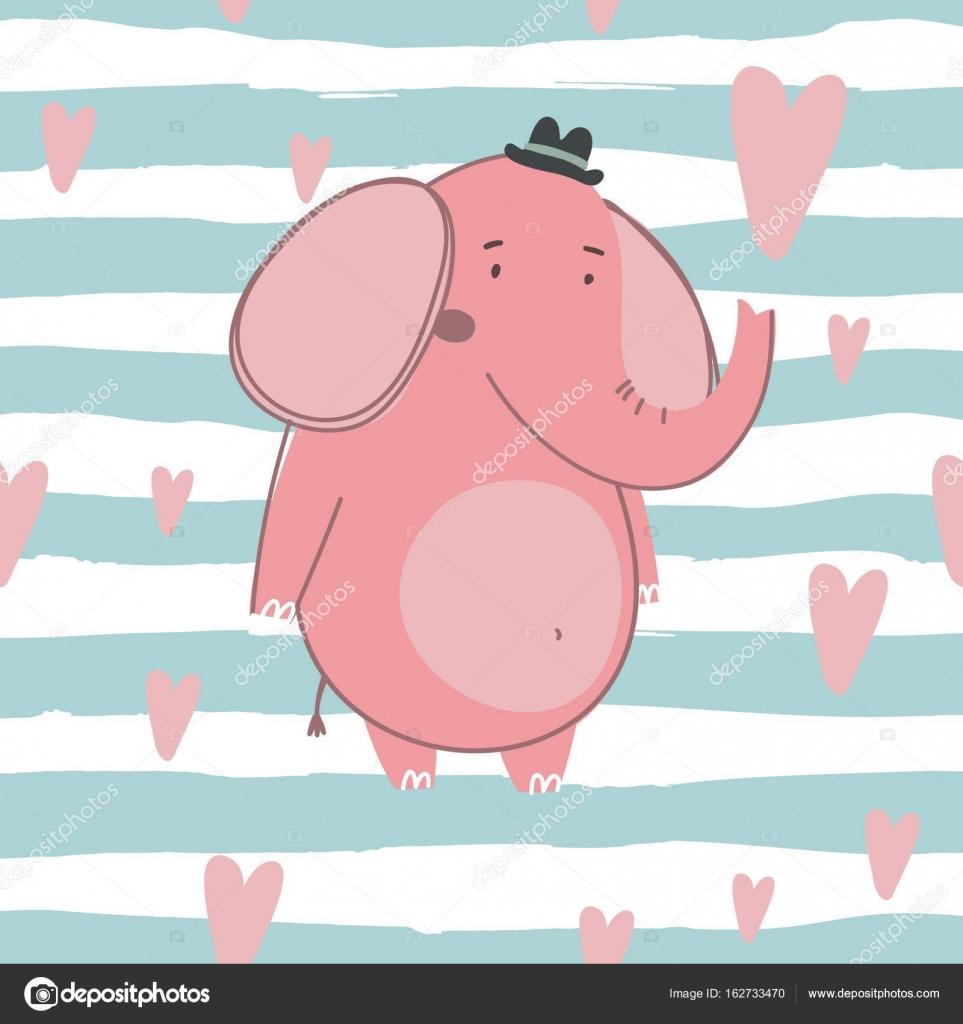 Dibujos Elefantes Tiernos Para Imprimir Tarjeta Elefante Feliz