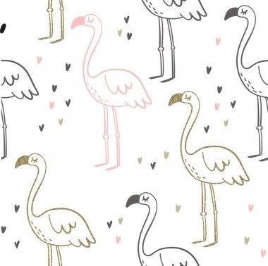 Cute summer print with flamingo