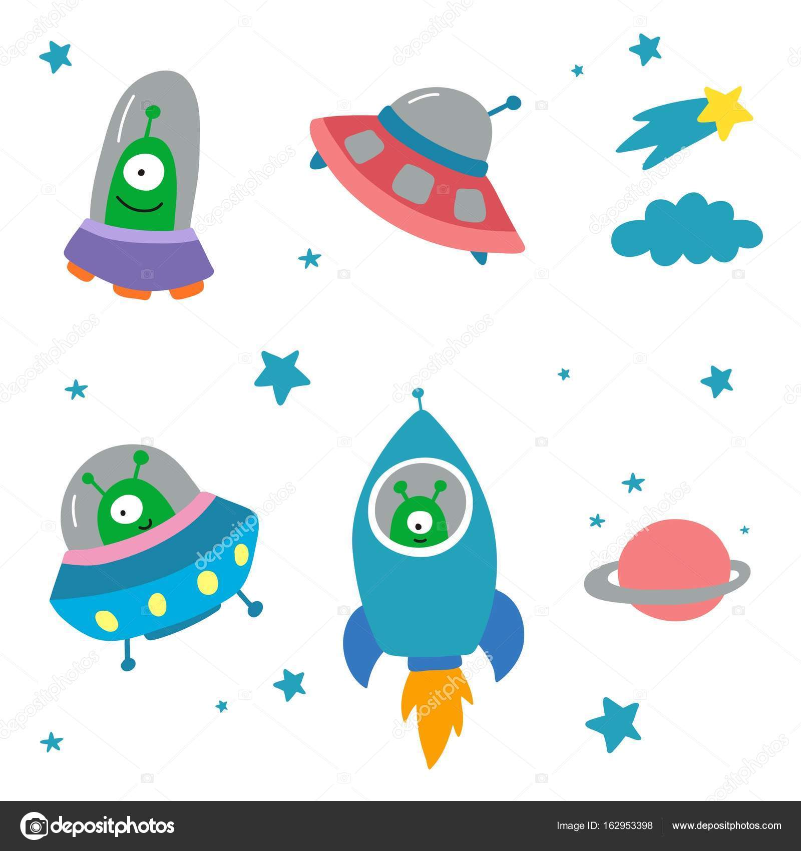 funny alliens in spaceships stock vector