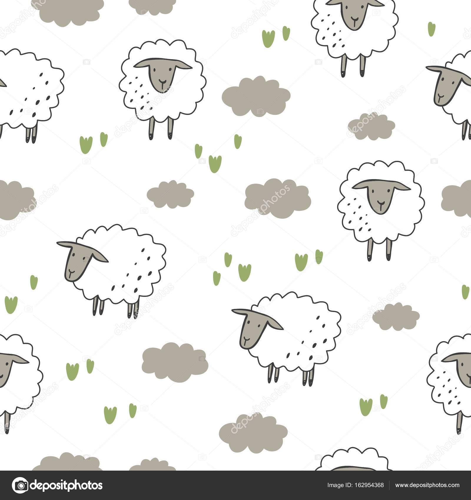 Happy Sheep Print Stock Vector C Webmuza 162954368