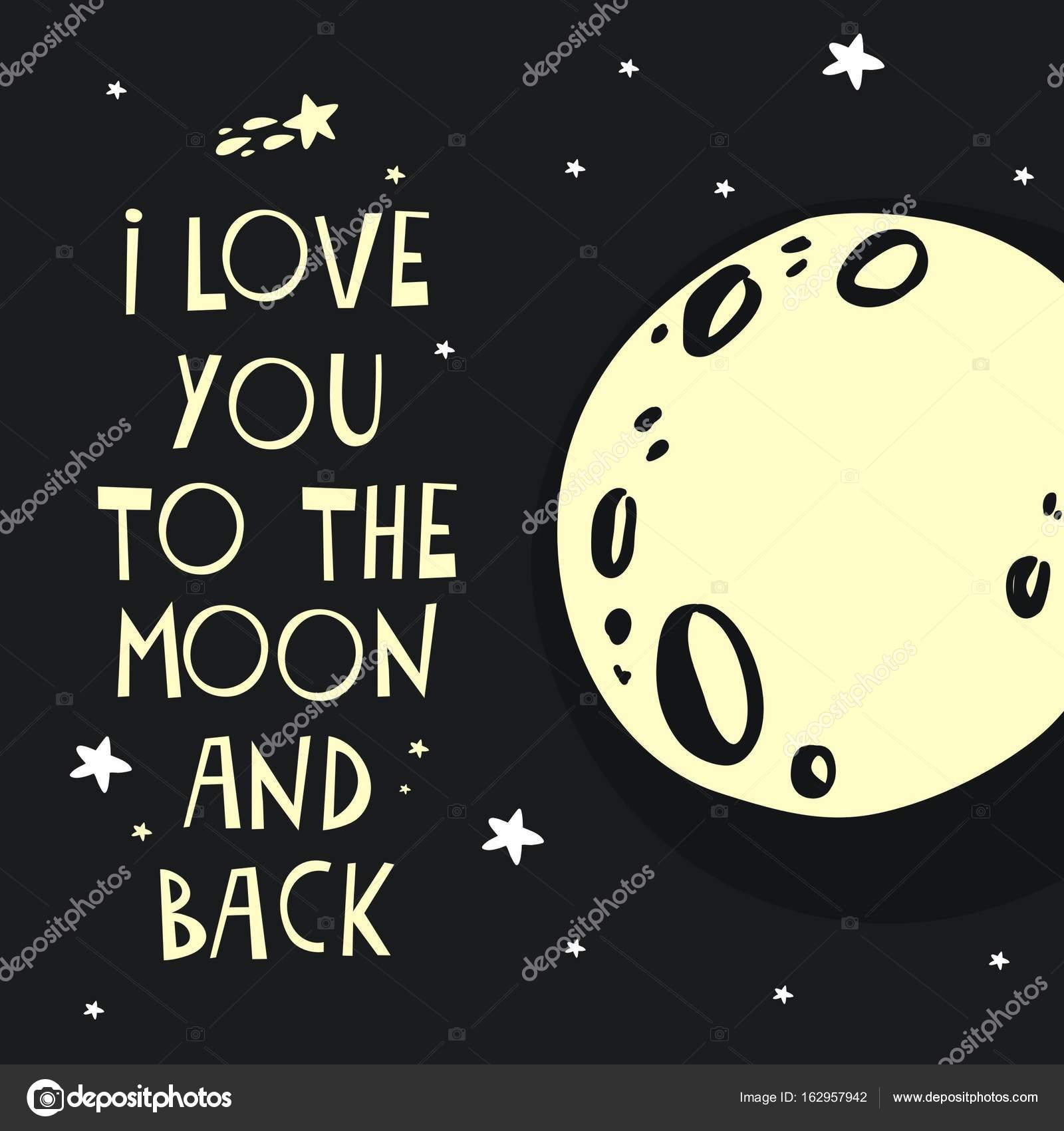 Außergewöhnlich Ich Liebe Dich Bis Zum Mond Foto Von Und Zurück Schriftzug — Stockvektor