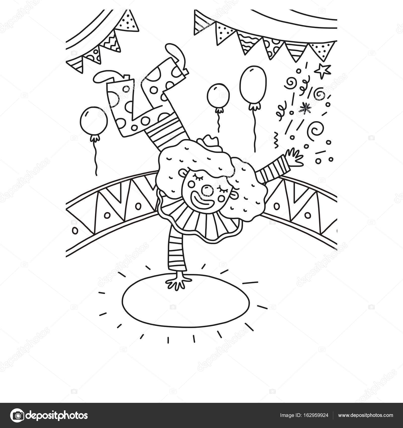 Clown with balloons coloring page | Coloring page Funny ...