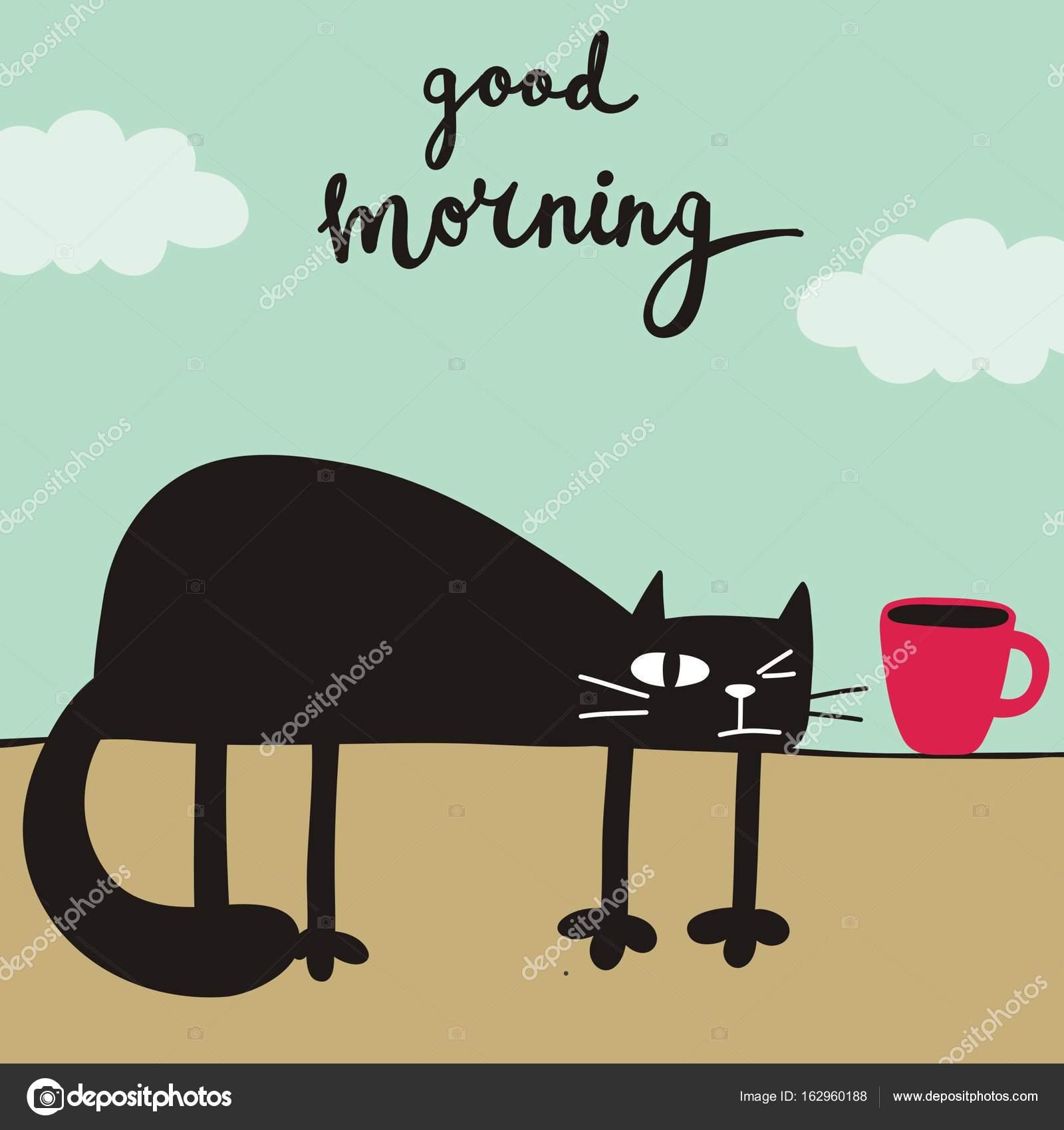 Funny Cartoon Cat Print Stock Vector C Webmuza 162960188
