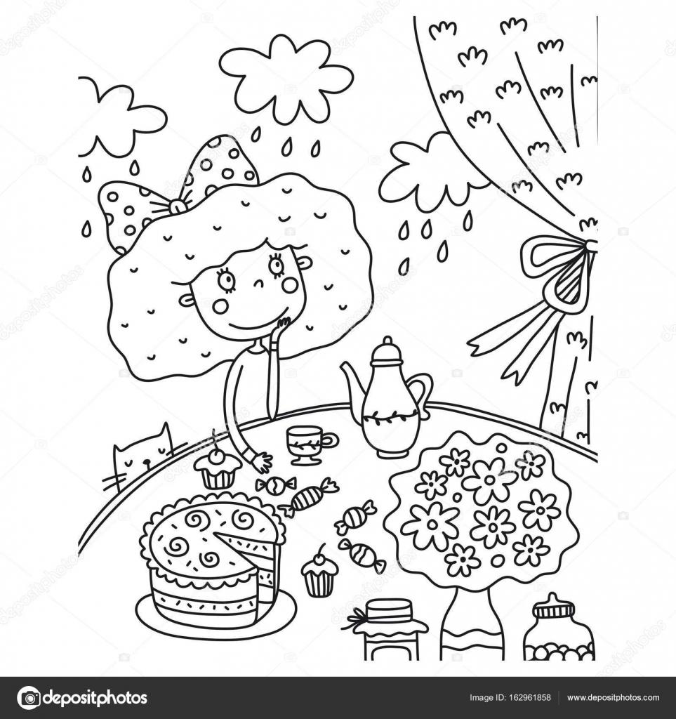kleurplaat pagina verjaardag meisje stockvector