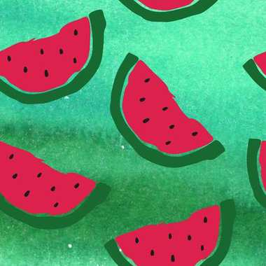 Abstract watercolor background with watermelon
