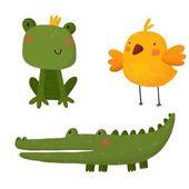 Karta s kreslený žabák, krokodýlí a ptačí