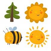 Kreslený slunce, strom a včela