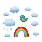 pták, rainbow a mraky na obloze