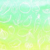 Fotografie Abstract watercolor background with fruits and vegetables