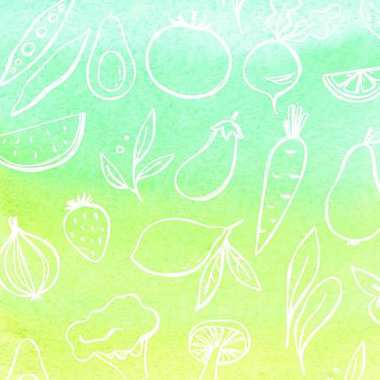 Abstract watercolor background with fruits and vegetables