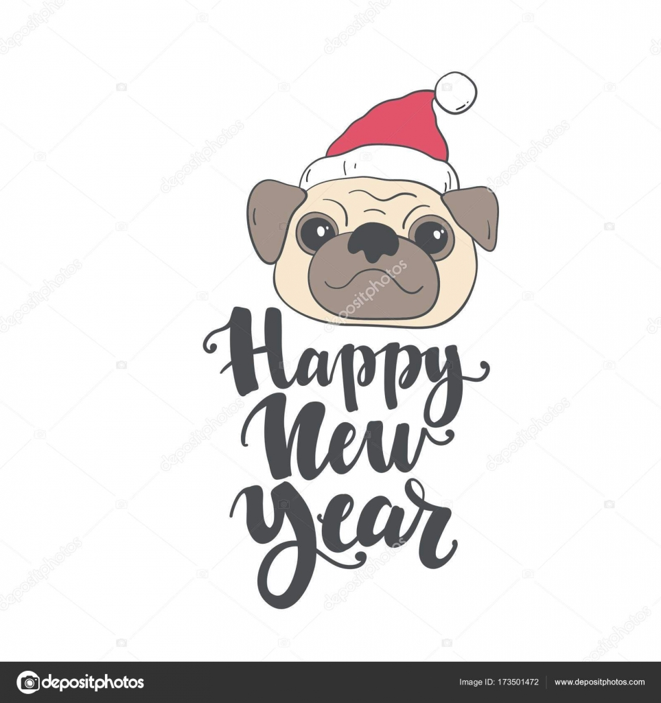 happy new year card print with pug vector by webmuza