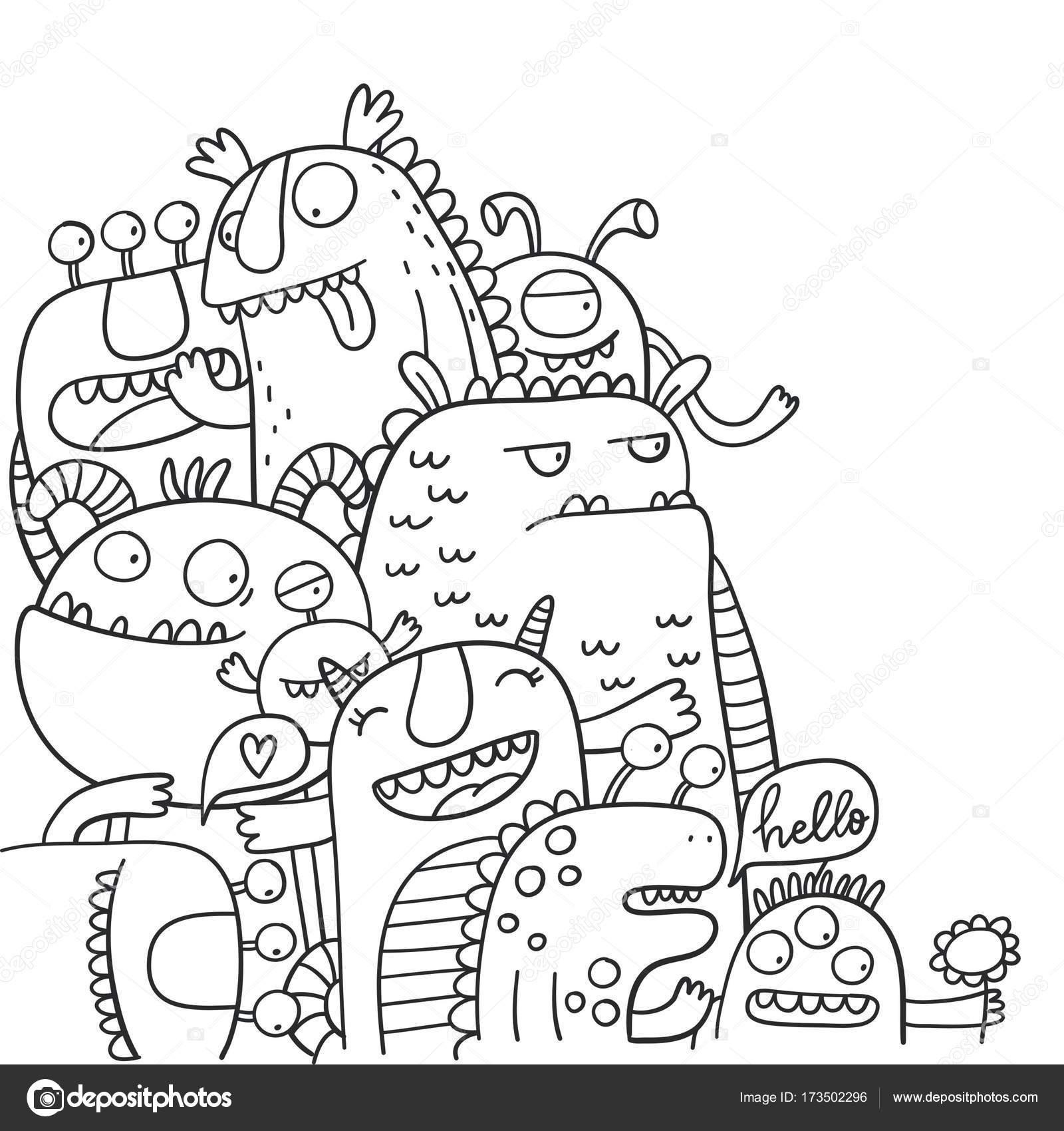 Süße Monster Malvorlagen — Stockvektor © Webmuza #173502296