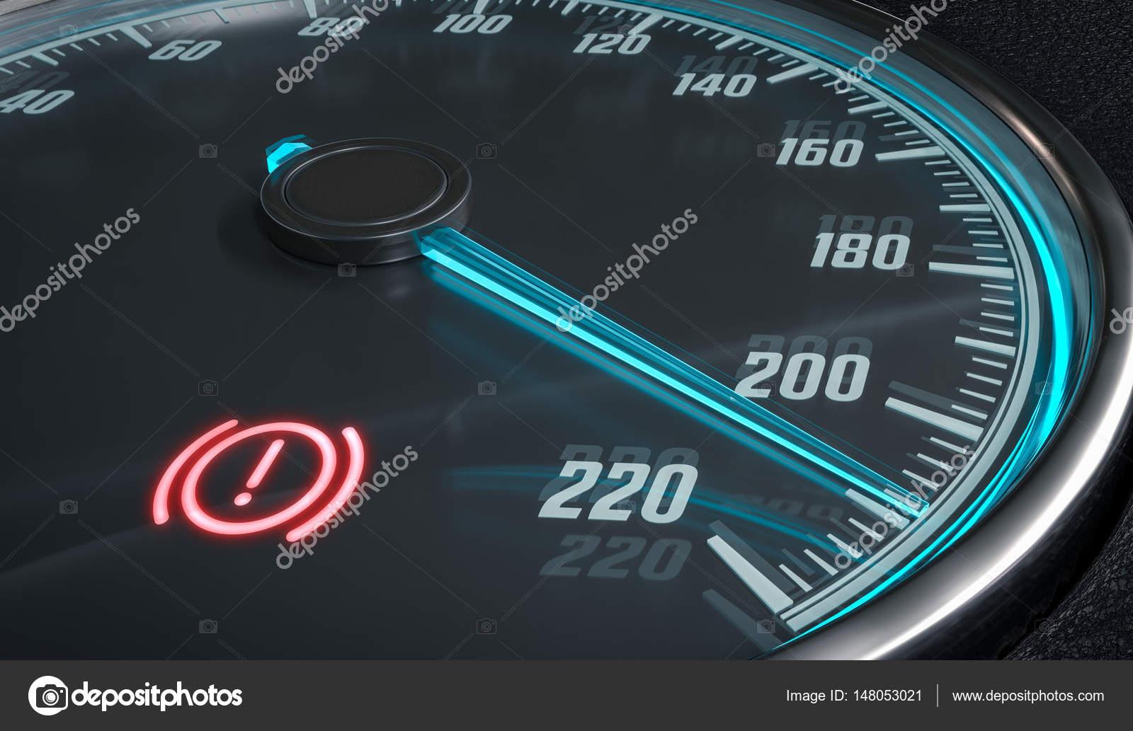 Brake system warning light in car dashboard  3D rendered