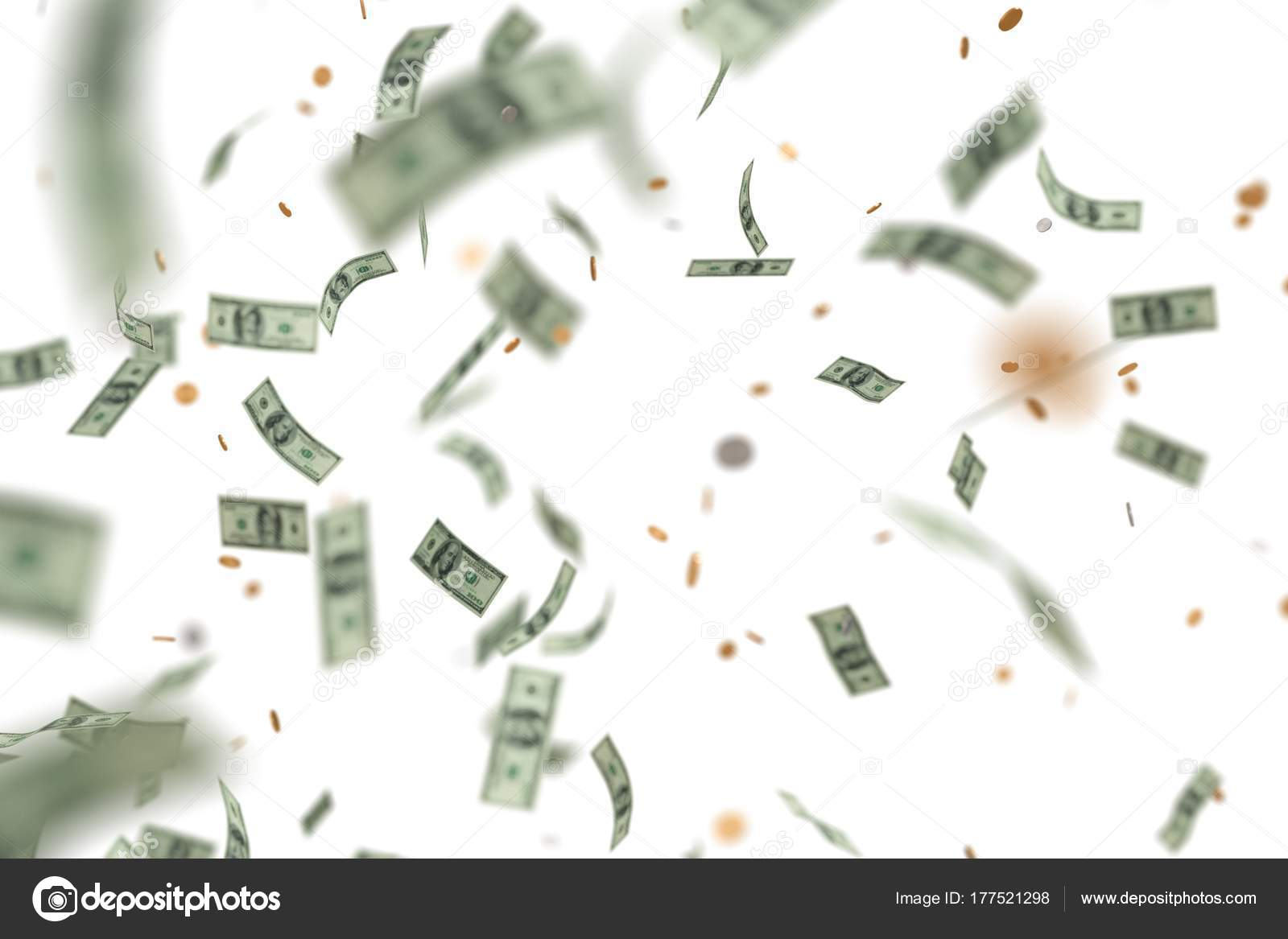 Money Raining And Falling Down Isolated On White Background 3d