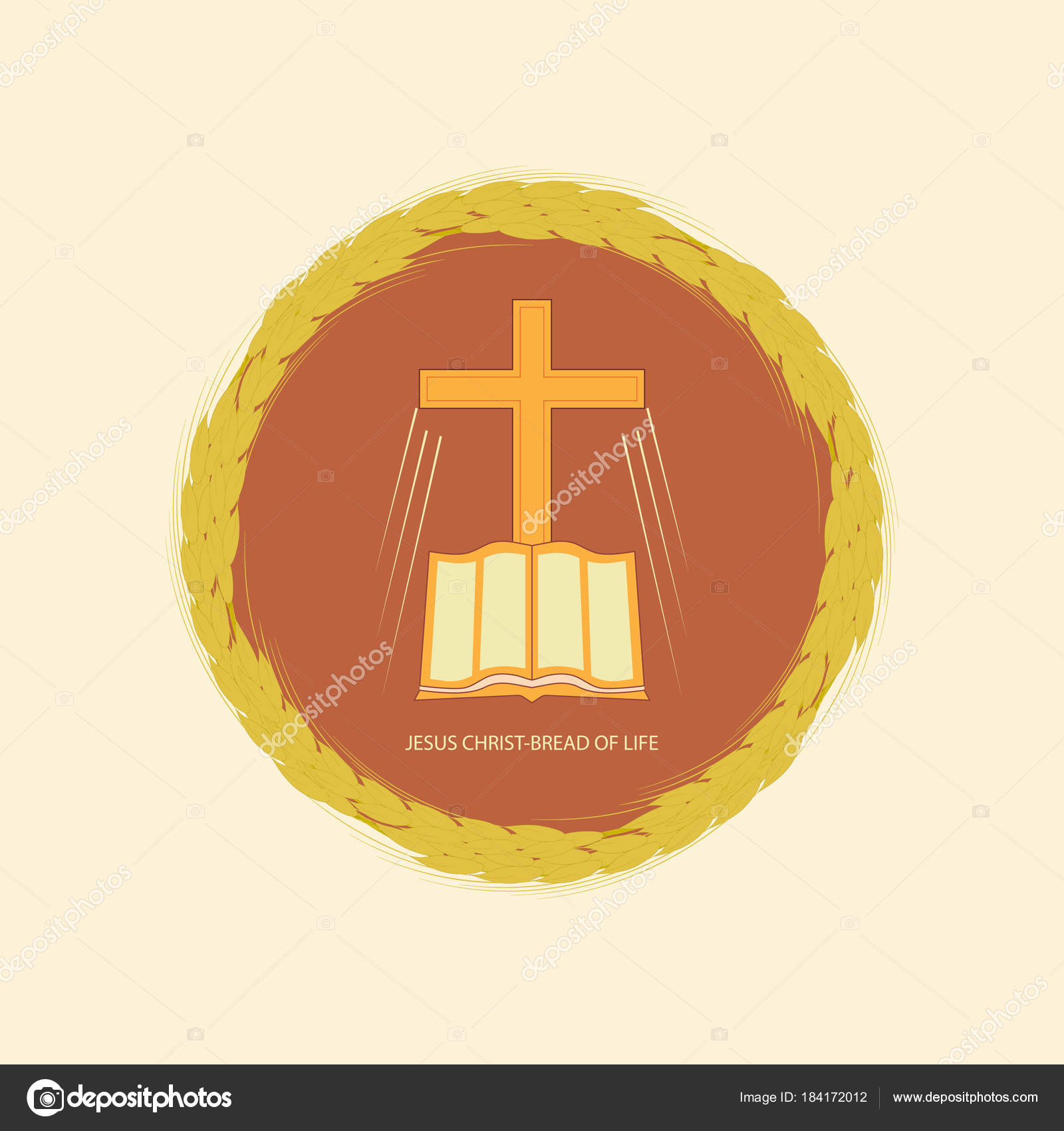 Jesus christ is the bread of life stock vector alexandrus1 the bible and the christian cross in edging made from wheat ears vector logo for christian churches vector by alexandrus1 buycottarizona Choice Image