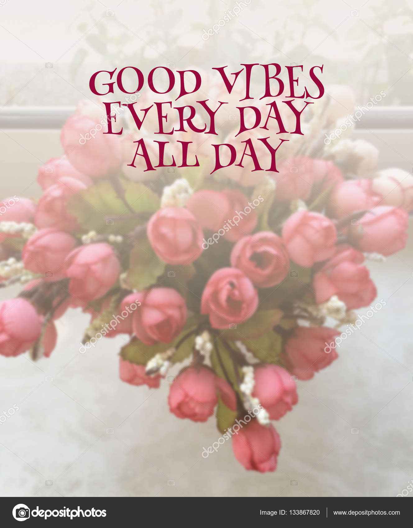 Inspirational quote on blurred flowers background — Stock Photo ...