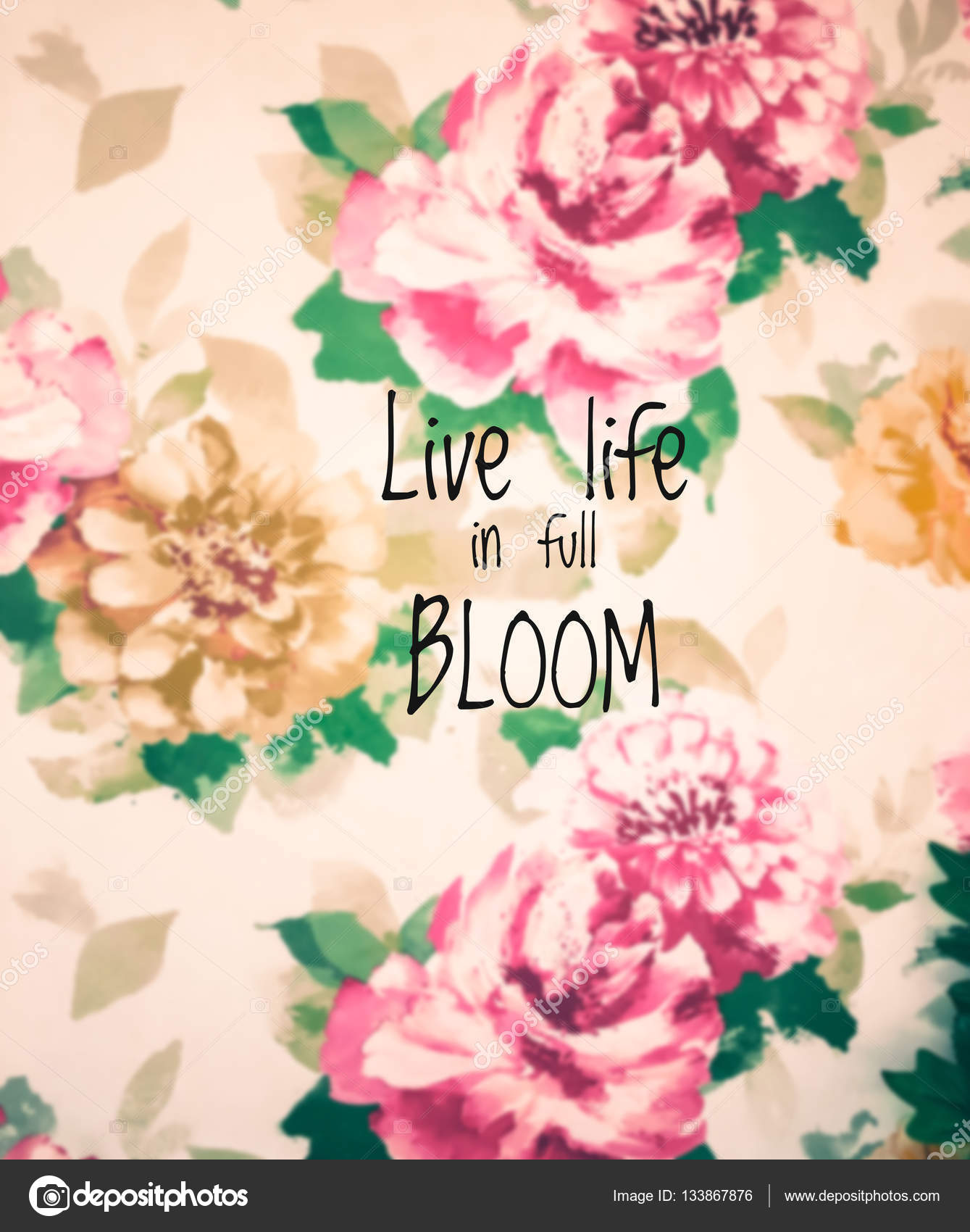 inspirational quote on blurred flowers background stock photo