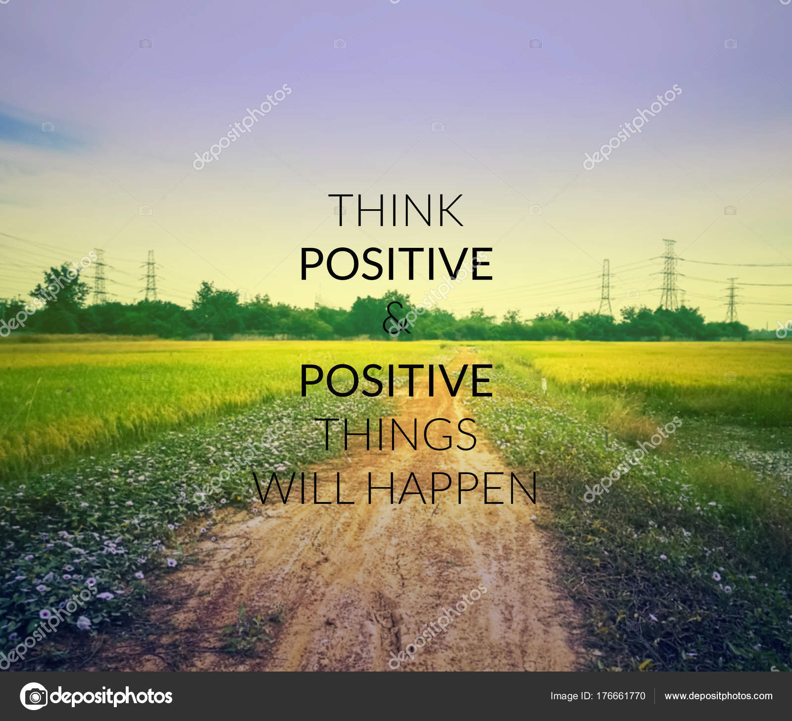 Inspirational Quote Blurred Background Think Positive Positive