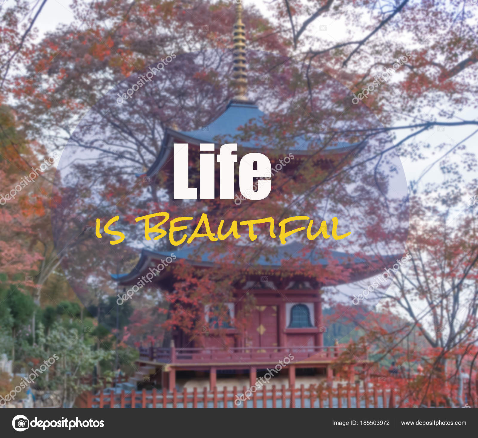 Inspirational And Motivation Quote On Blurred Landscape Background......life  Is Beautiful U2014 Photo By Dang2557