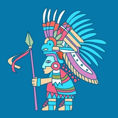 Aztec redskin warrior with a spear.