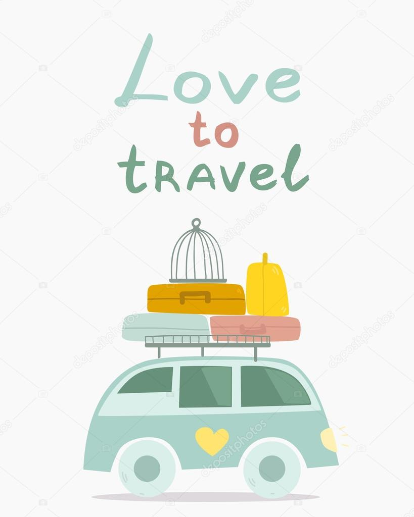 Cartoon Travel Car With Luggage Stock Vector