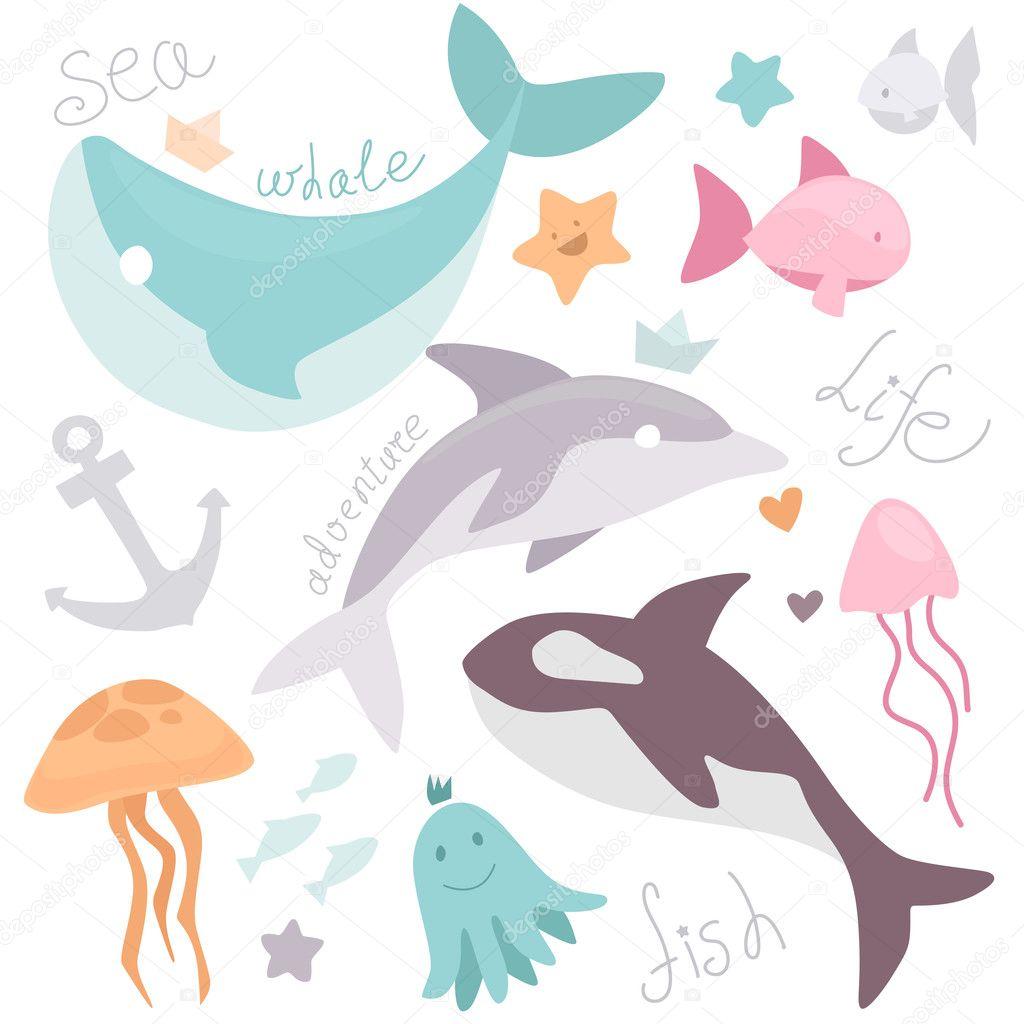 Stock Illustration Cute Cartoon Drawing Sea Life