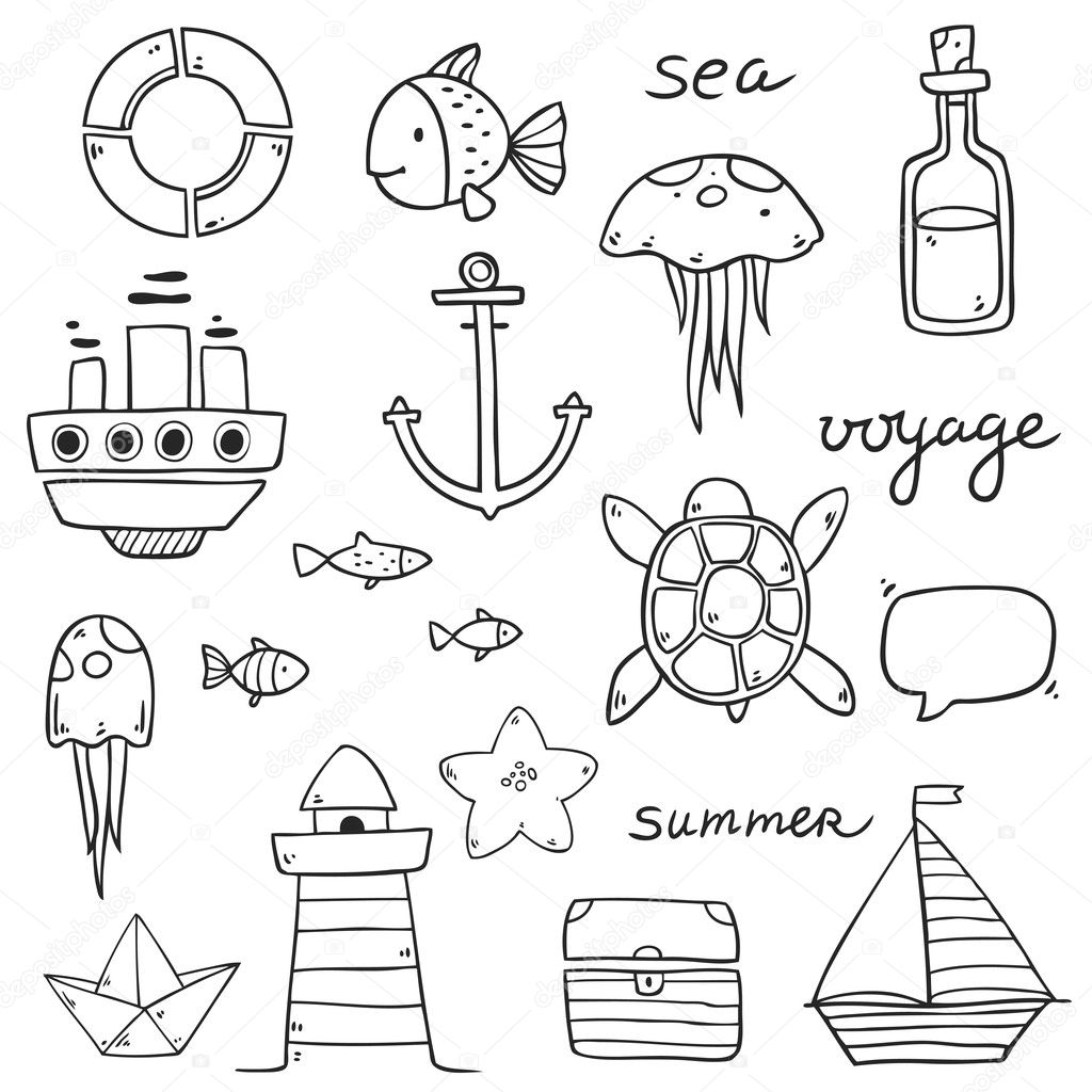 summer sea cute icons stock vector c lunter 125601558 https depositphotos com 125601558 stock illustration summer sea cute icons html