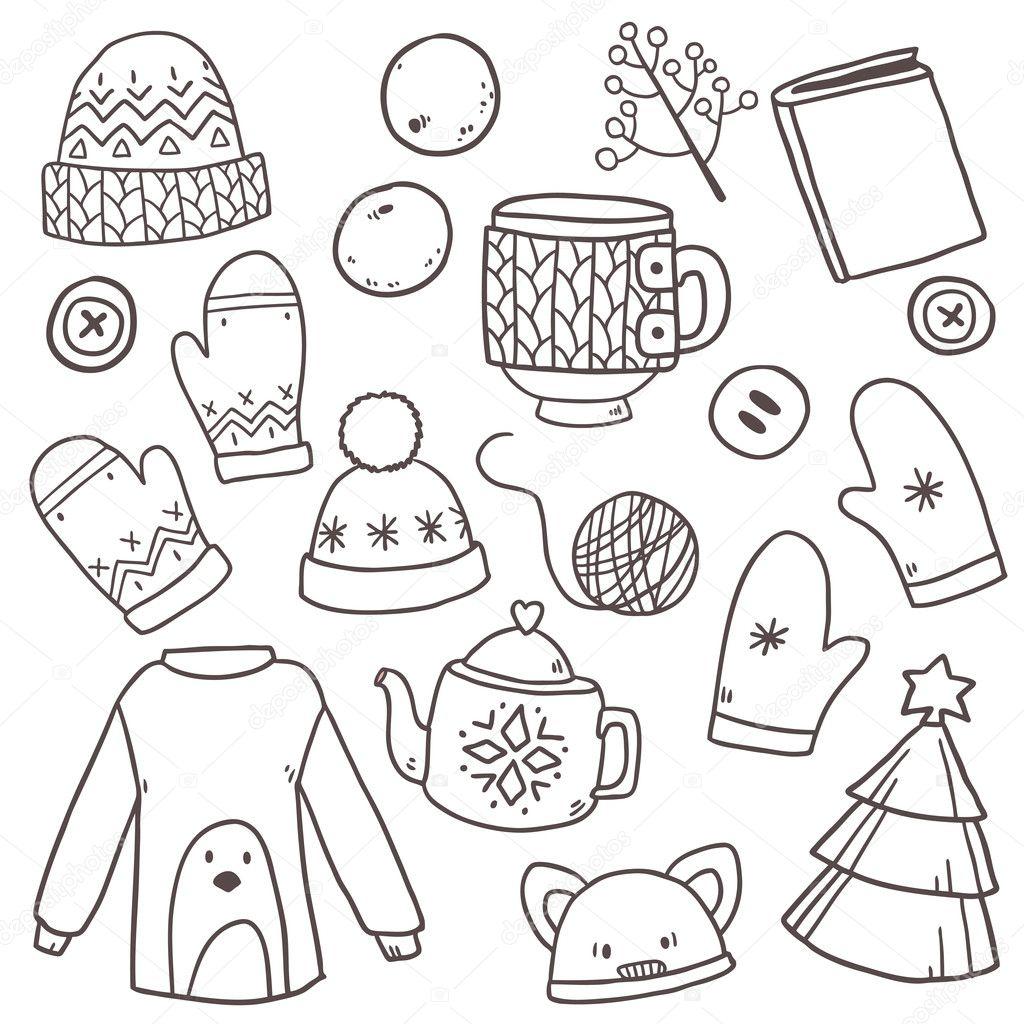 patrón con elementos de ropa de invierno — Archivo Imágenes ...
