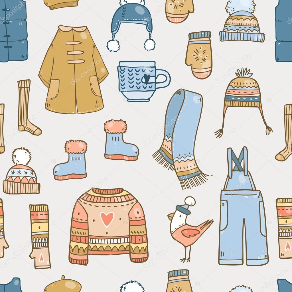 patrón con elementos de ropa de invierno — Vector de stock © Lunter ...