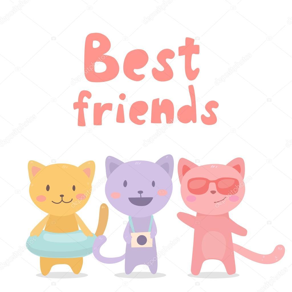 3 Best Friends Cartoon Three Best Friends Stock Vector C Lunter 125606934