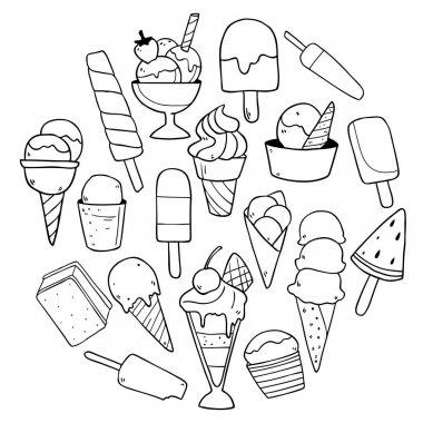 pattern of hand drawn ice creams