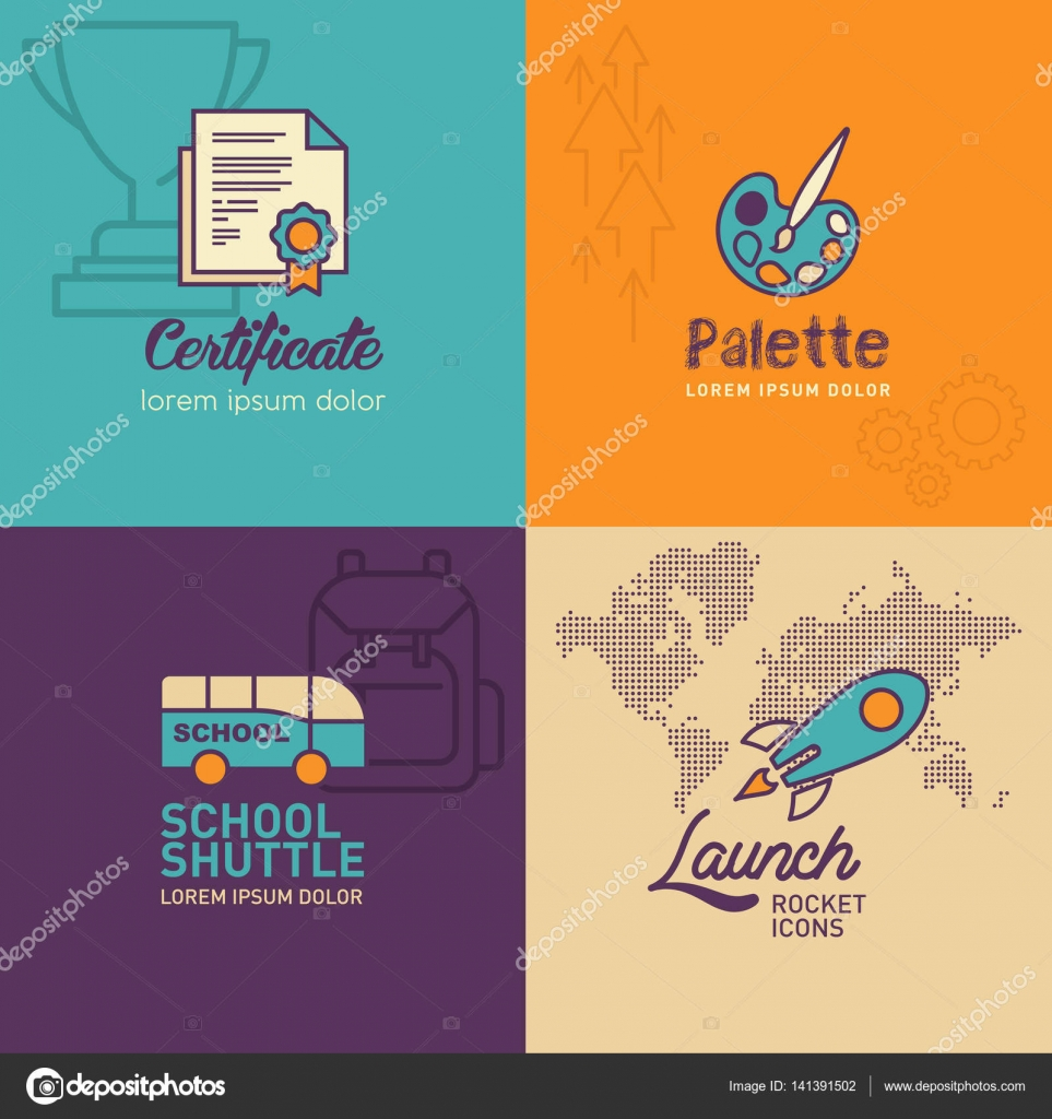Education flat icons certificate icon palette icon school bus education flat icons certificate icon palette icon school bus rocket icon with world map vector illustration eps 10 vector by siak10b gumiabroncs Gallery