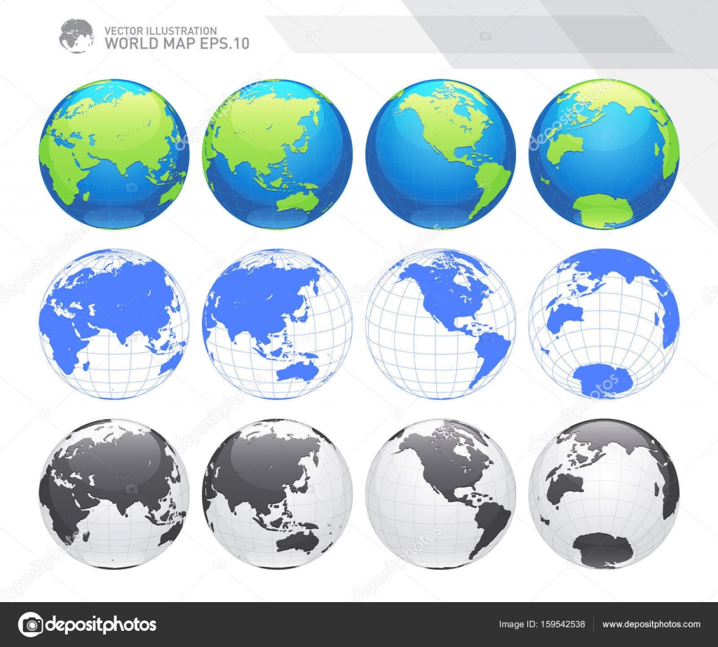 Globes showing earth with all continents digital world globe vector globes showing earth with all continents digital world globe vector dotted world map vector gumiabroncs Gallery