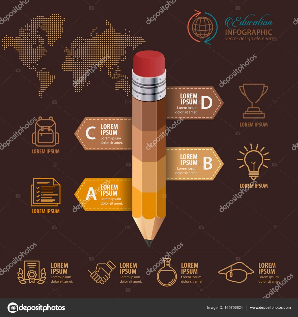 Education concept  Pencil and bubble speech with icons  can be used