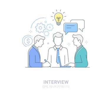 Job Interview - Vector line design style isolated icon. Human resource and hiring process design concept stock illustration.