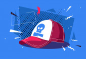 Vector illustration of a red cap with an active background
