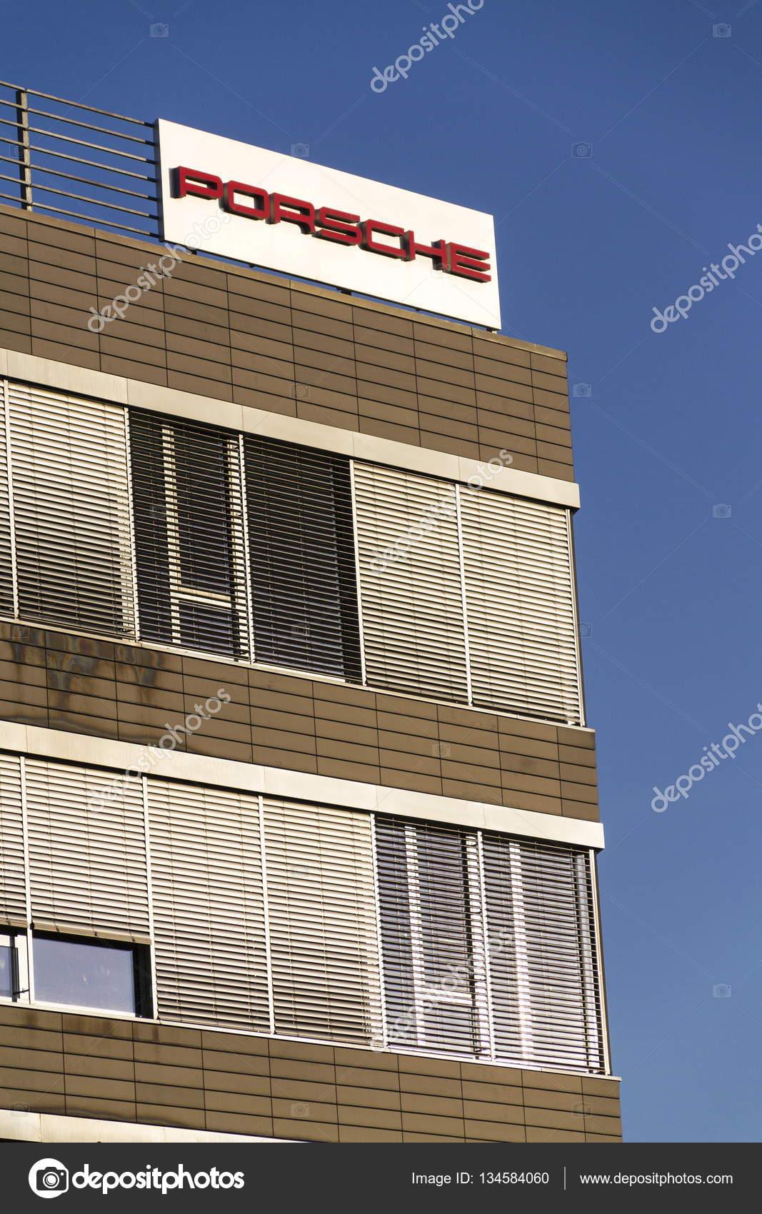 Porsche Automotive Company Logo On Czech Headquarters Building