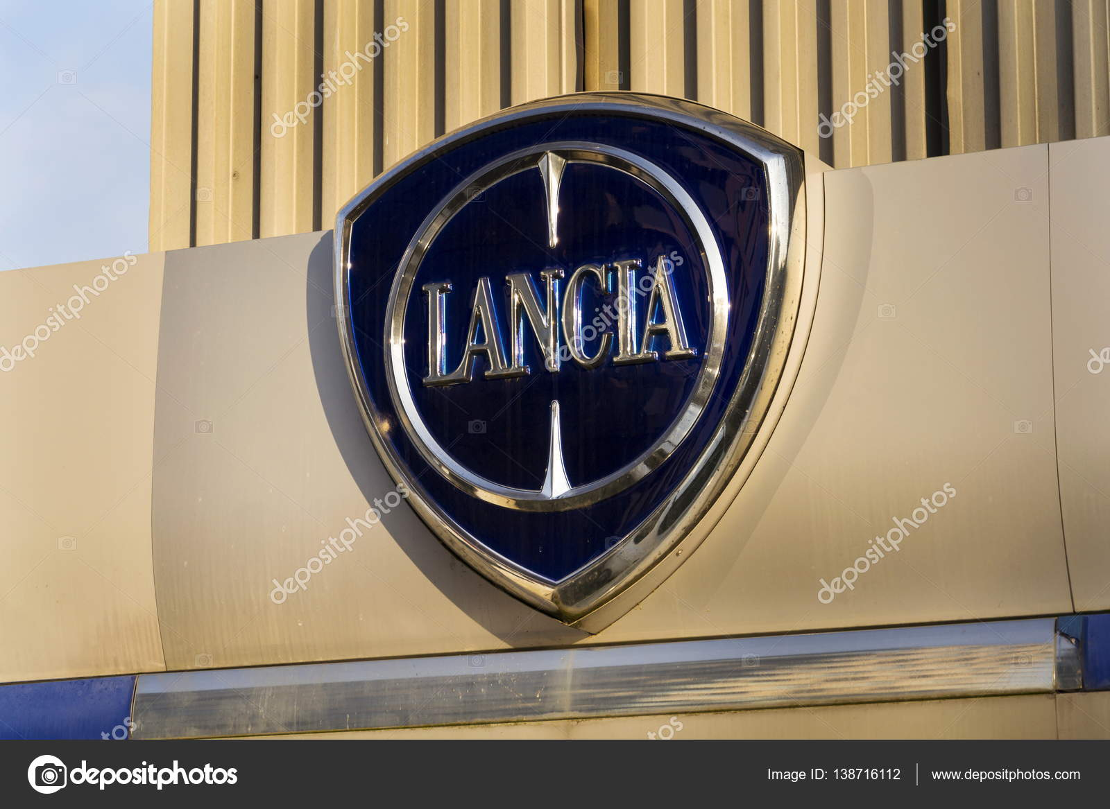 Lancia car logo on dealership building on january 20 2017 in american regulator epa investigate fiat chrysler automobiles for emissions cheating photo by josekube biocorpaavc