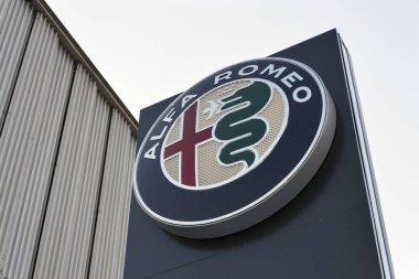 Alfa Romeo car logo on dealership building on January 20, 2017 in Prague, Czech republic. American regulator EPA investigate Fiat Chrysler Automobiles for emissions cheating.