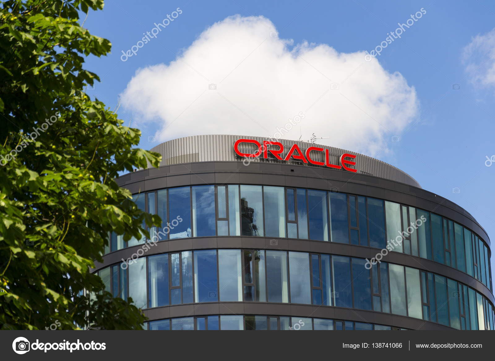 Oracle company logo on headquarters building on June 18