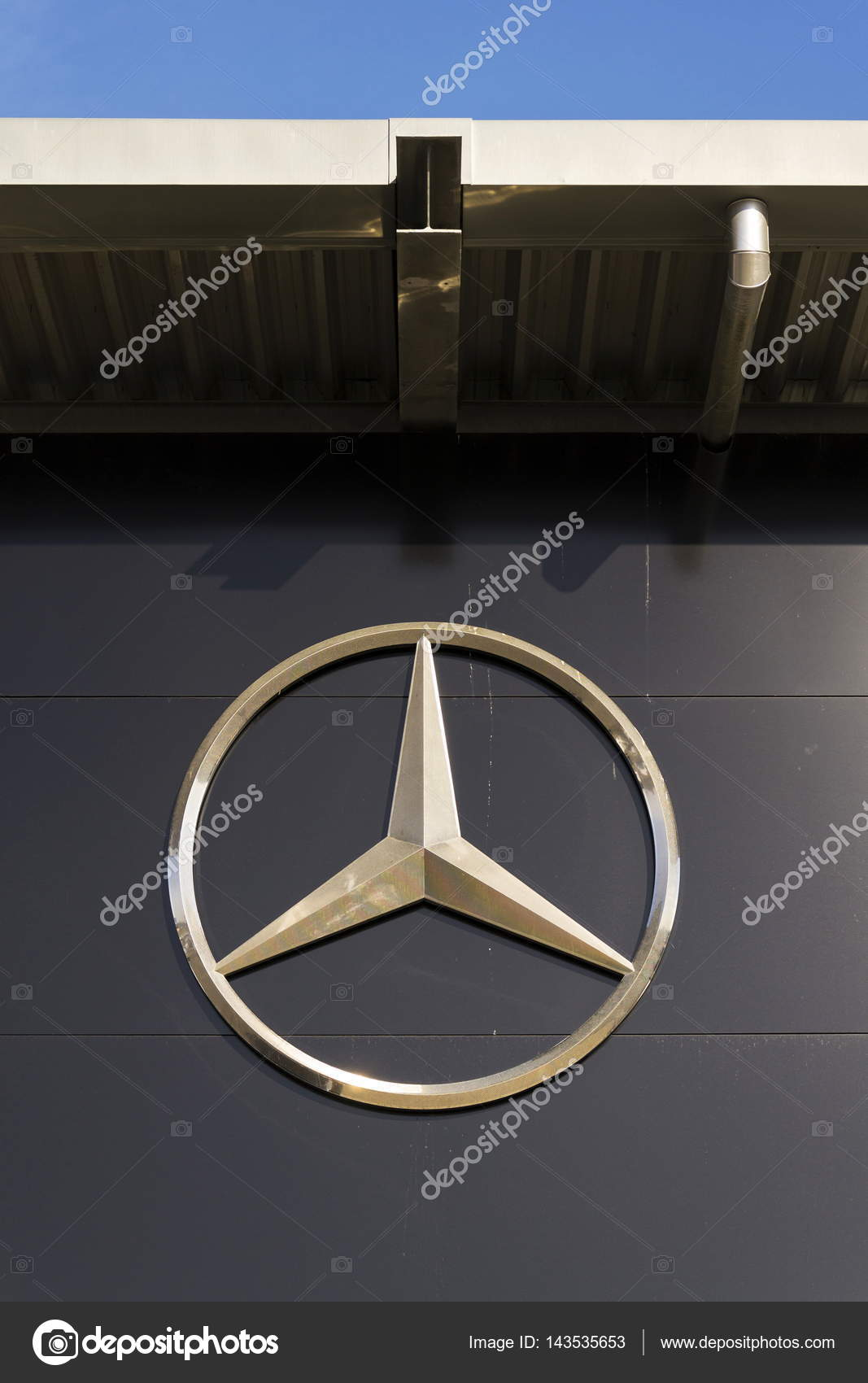 Mercedes benz car logo on dealership building on february 25 2017 mercedes benz car logo on dealership building on february 25 2017 in prague biocorpaavc Image collections