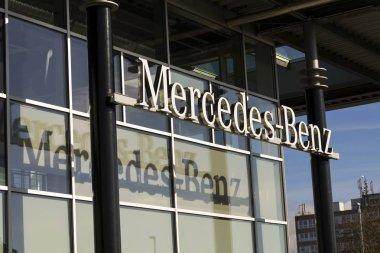Mercedes-Benz car logo on dealership building on February 25, 2017 in Prague, Czech republic. Daimler does deal with Uber on autonomous vehicles fleet.
