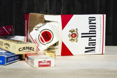Packs of different cigarette brands photographed on March 25, 2017 in Prague, Czech republic.